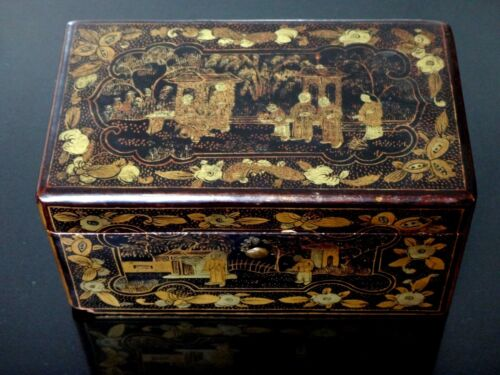 Very fine chinese box lacquer painted 19th