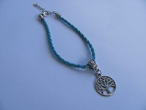 Anklet-Bracelet-Leather-Tree-of-Life-Braided-Mixed-Colours-19cm-8