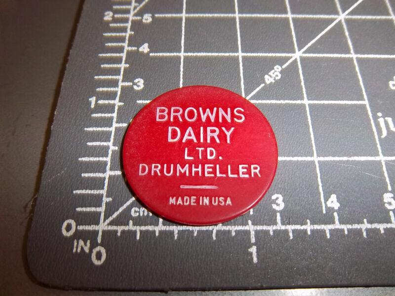 Browns Dairy Drumheller Alberta Canada token, good for one Quart Milk, red token