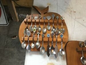 Six spoon showcases of collectable vintage souvenir spoons