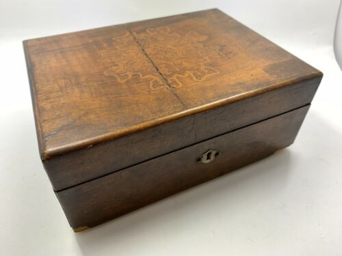 Antique hand carved Inlaid wooden box hand made brass hinges