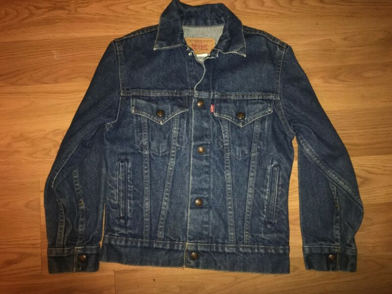 VTG 80S BOYS 12 KIDS UNISEX DARK DENIM JEANS LEVIS DENIM JACKET
