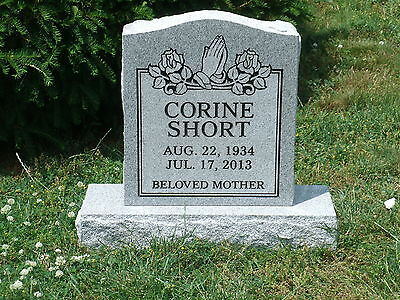Cemetery headstone tombstone marker- gray- multiple engraving options included