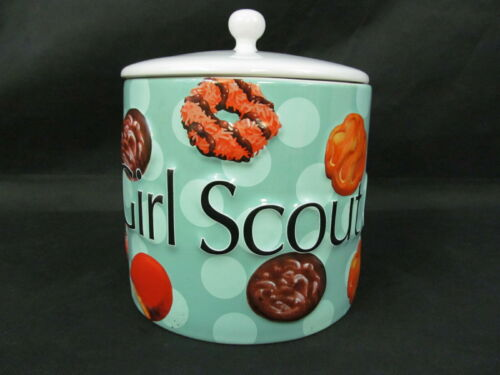 Rare Collectible Girl Scout Cookie Jar - 2006 Ceramic Blue Large 4 Quarts