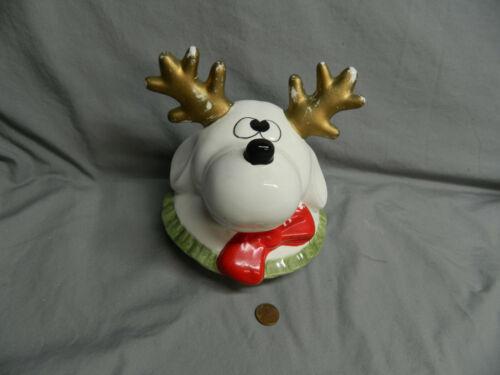 World Bazaar Large White Reindeer Christmas Cookie Jar Lid -  LID ONLY