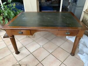 Silky oak leather top bankers desk