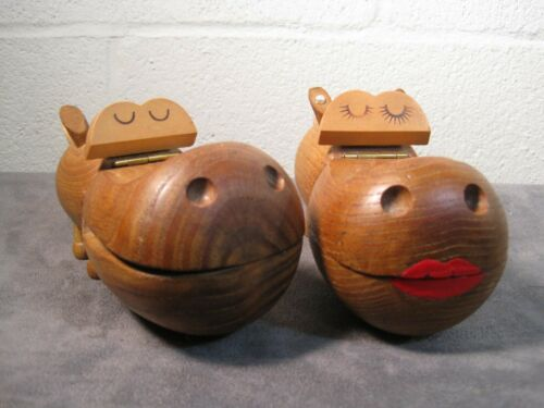 Vintage Zoo Line 1959 Wooden Hippo Pair Male and Female In Great Shape