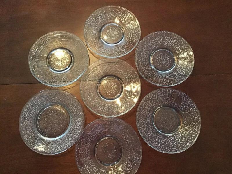 Crackle Glass  Salad Dessert Bread Plates 7