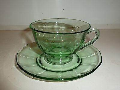Vintage Fostoria Fairfax Green Depression Glass Cup/Saucer