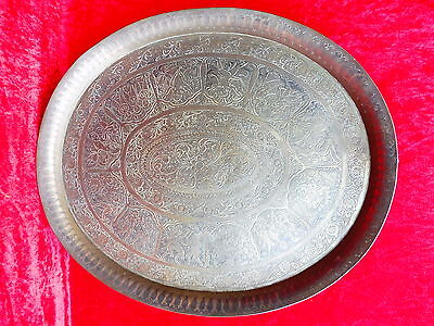 Large, Antique Brass - Tray __Orient__Decorated__Handmade__ 50, 5cm