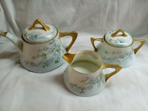 Vntg Z S Co Bavaria Hand Painted Gold Porcelain Forget Me Not Coffee Set - $45.00