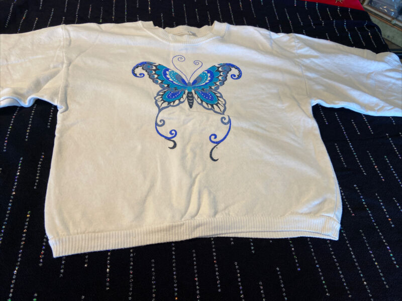 Vintage US Boys Blue Butterfly Girls Sweater Size M