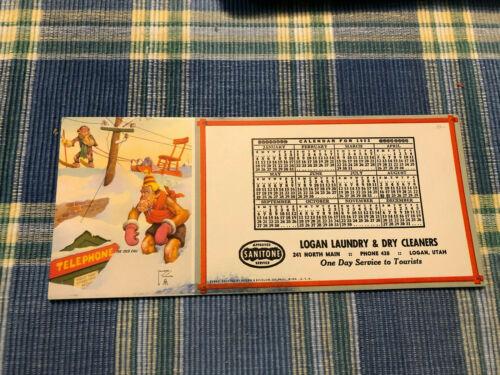 1953 Calendar on Advertising Ink Blotter Logan Utah UT - Lawson Wood FunnyChimps