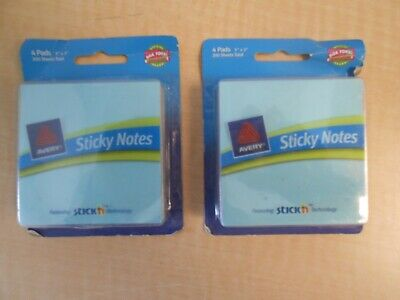 2 Pads 200 X 2 400 Stickey Notes Avery 3x3 4 Pads 22541.