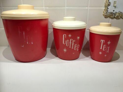 VINTAGE RED PLASTIC CANISTER SET 3 PIECE COLS FLOUR COFFEE TEA