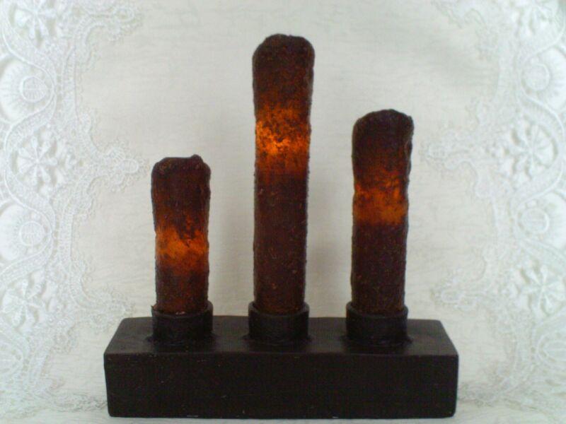 NEW Burnt Mustard Candelabra Drip Nook TIMER Candle Black Resin Base Primitive