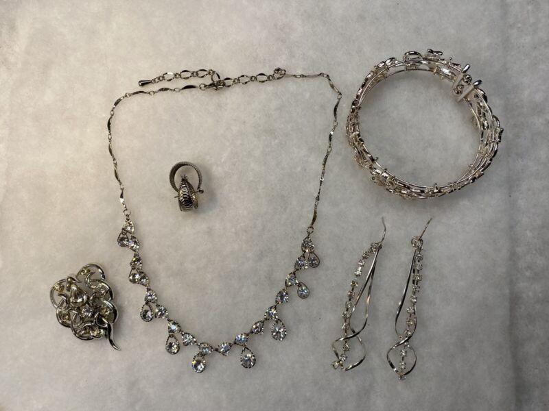 Estate Find Silver Tone Set W/ Necklace, Brooch, Dangle Earrings & Cuff Bracelet