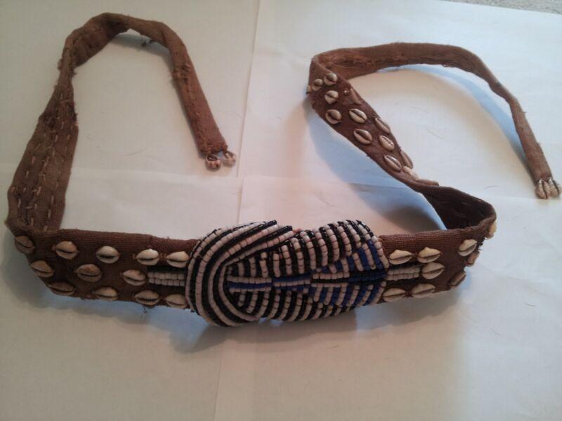 Vintage African Beaded Sash Belt Cowrie Shells