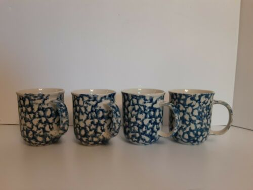 Set of 4 Blue Sponge Coffee Mugs Cups By Tienshan