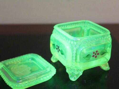 MAGNIFICENT Iridescent Uranium VASELINE HAND PAINTED Glass JAR or BOX