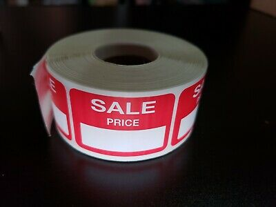 500 Self-adhesive Sale Price Rectangular Retail Labels Sticker Merch Tag Red