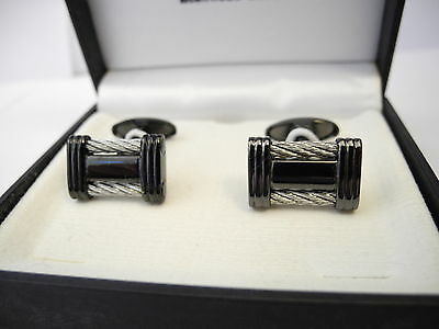 COLIBRI STAINLESS STEEL UNDERGROUND COLLECTION CUFFLINKS BLACK LUSTRE /CABLE NEW ()