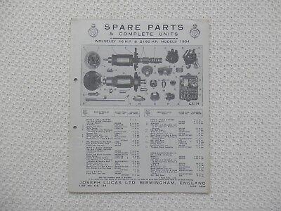 WOLSELEY HORNET, Nine 9  Ten 10 1934 LUCAS Parts List published May 1934