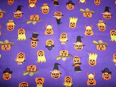 Halloween Cotton Fabric Jack o Lanterns Purple/ Orange Fabric Joann Stores 2YD