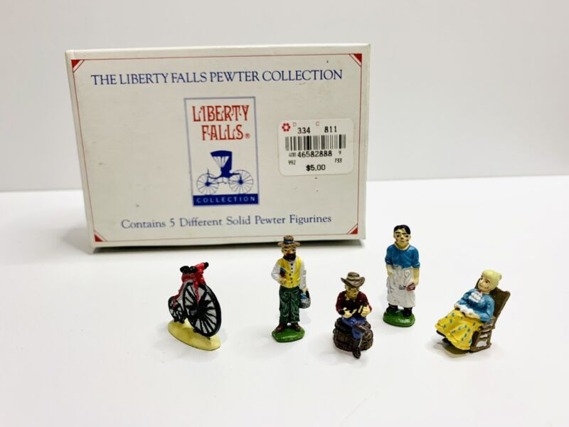 Liberty Falls Mini Hand Painted 5 Village Pewter Figurines W/ Box AH135