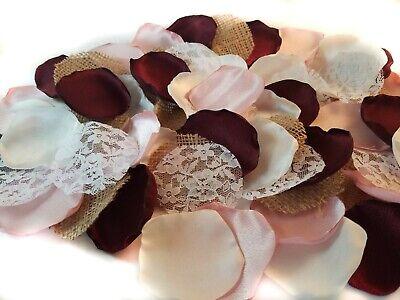 Wedding Flowers Gold - Burgundy Rose Gold Ivory Rustic Wedding Flower Petals Lace Burlap Satin Wedding