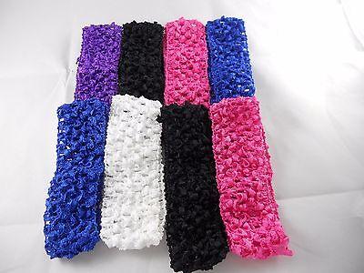 Wholesale 8 pcs Girls  Crochet Headband With 1.5 inch Acrylic choose color. (Crochet Girls Headband)