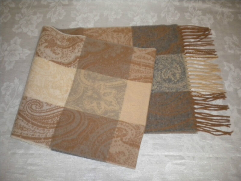 PAISLEY Scarf Tan Smoky-Blue Beige Ivory Multi-Color Acrylic