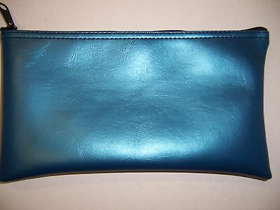 1 Brand New Sapphire Blue Vinyl Bank Deposit Money Bag Tool Organizer
