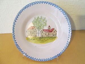 Plato-loza-decoracion-shack-maison-iglesia-XIX-19-siglo-ceramica-frances