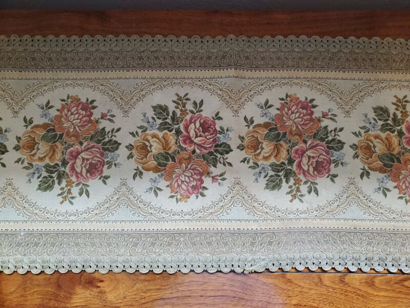 Antique Vintage Brocade Table Runner ~ Floral Beautiful