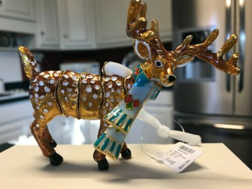 Cloisonne Articulated Golden Spotted Deer Ornament In Box Dillard