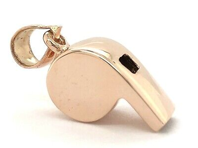 14k Yellow White or Rose Gold Working Whistle Charm Pendant