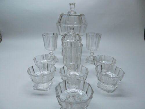 EAPG Antique Adams and Company Clear Ribbon 15 piece set