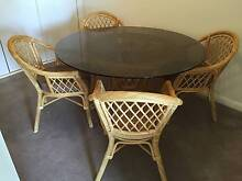 5 piece Dining table - round glass top and wicker chairs Wantirna South Knox Area Preview