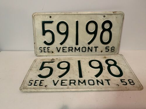 Matched Pair 1958 Vermont License Plates, Tags