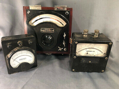 Vtg 3 Meters Ge Westinghouse Weston Electrical Amperes Ammeter Gauges Test Tool