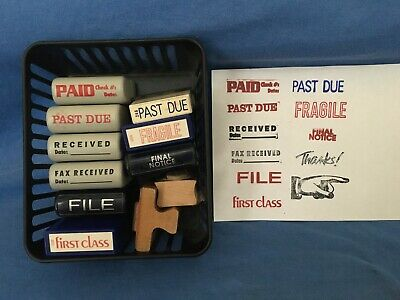Vintage Lot Of 11 Office Stampers Paid Received File Fragile Past Due Stamp-ever