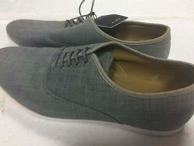 Zara Man Gray Canvas Lace Up Oxford Casual Sneakers Mens Shoes Size 12/ EUR 45