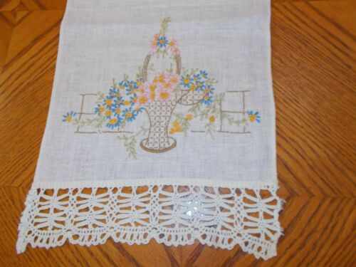 Embroidered Dresser Scarf or Table Runner