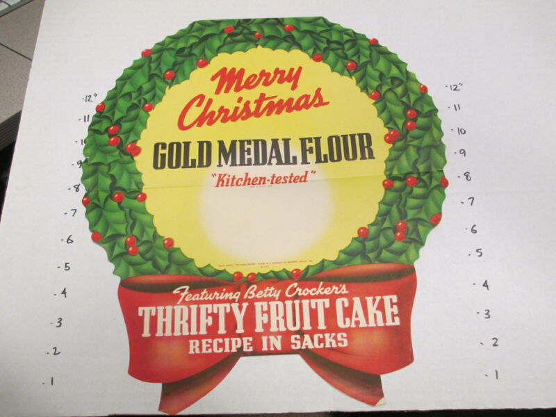 GOLD MEDAL FLOUR General Mills 1940s store sign Christmas wreath fruit cake