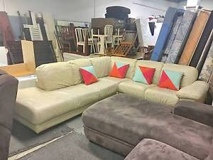 DELIVERY TODAY LUXURY GENUINE LEATHER L shape corner sofa couch Belmont Belmont Area Preview