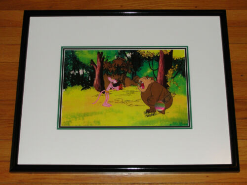 """Pink Panther """"Pink Bananas"""" Hand Painted Production Cel Friz Freleng Signed"""