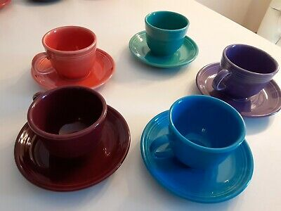 Fiestaware Teacup And Saucer Sets Lot Of 5, Several Retired Colors