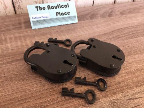 (2) x Iron Lock & Keys ~ Old Vintage Antique 1800s Style ~ Black Jailer Police