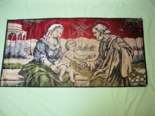 VINTAGE Italian VELVET Holy Family MARY JESUS JOSEPH Wall Hanging Fabric 20X39